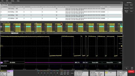 Отображение на экране осциллографа результатов автоматического декодирования сигналов CANFD — в виде таблицы и сигналов с шины