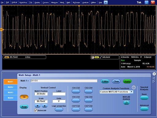 How to create an eye diagram in dpojet tektronix setup math1 to calculate the difference of your input signals ccuart Choice Image