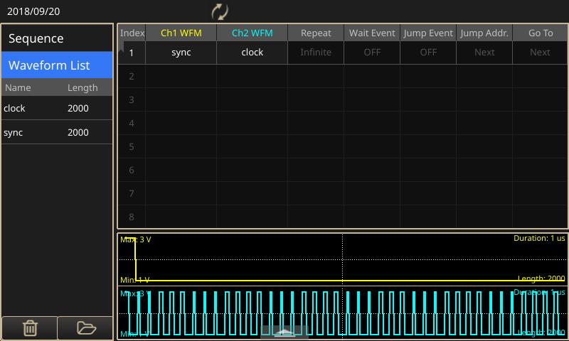 Генерирование тактовых и синхроимпульсов генератором произвольных функций AFG31000