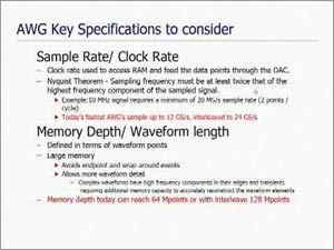 Basics of Sample Rate and Memory in Arbitrary Waveform Generators