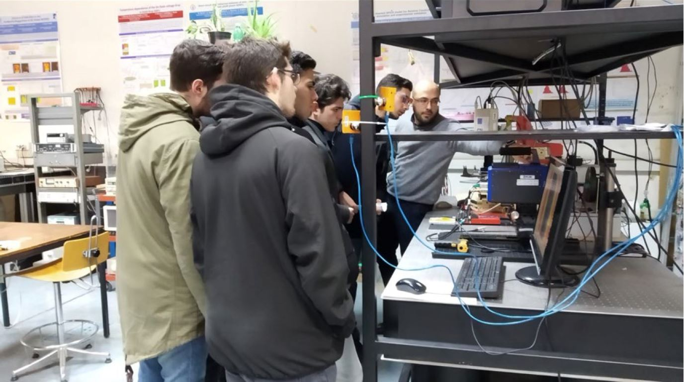 Michele in class lab with students