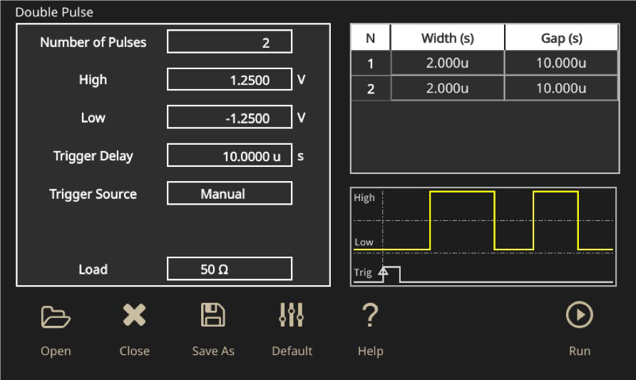 Double Pulse Test set up screen on the AFG31000 arbitrary function generator
