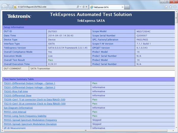 SATA/SAS Application Software - TekExpress SATA/SAS and SAS3